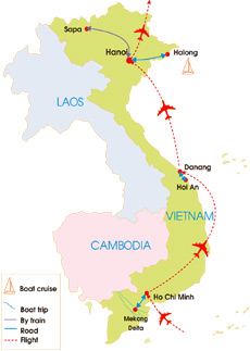 12-Day Friendly Vietnam Tour - Map