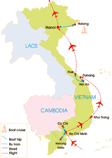 15-Day Classic Vietnam - Map
