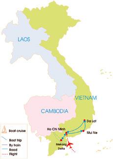 8-Day Southern Vietnam Highlight Tour - Map