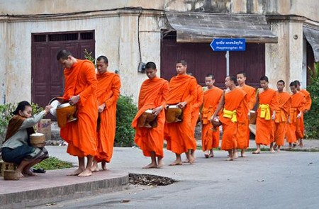 Alms giving ceremony in Laos