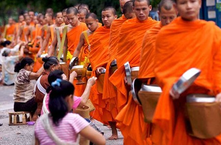 Alms offering ceremony in Laos