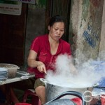 Making Banh Cuon one of Hanoi's speciality