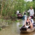 Sanpan ride through waterways of Mekong Delta