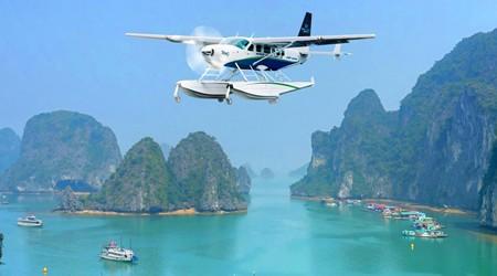 A Hai Au seaplane takes a tour around majestic Ha Long Bay