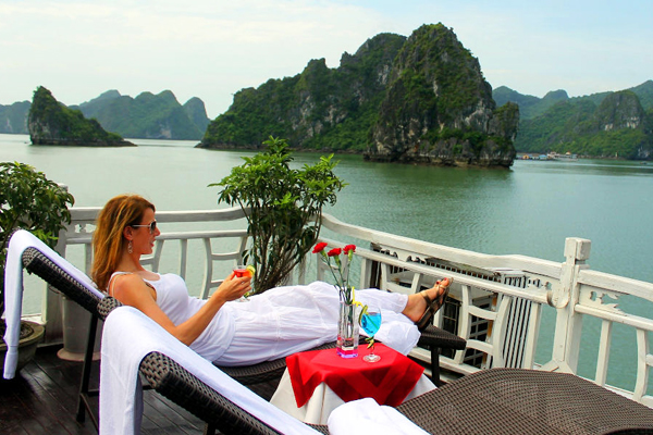 Discover majestic Halong Bay on sundeck