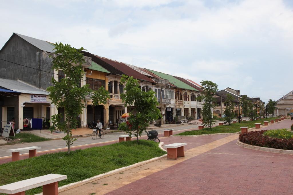 A main street in Kampot town, Cambodia