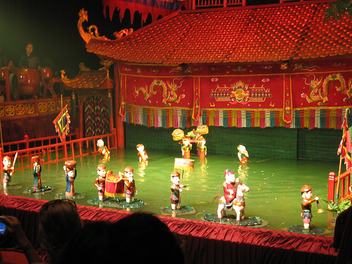 A water puppet show in Thang Long water puppet Theatre