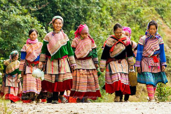 Flower Hmong tribal women in Vietnam
