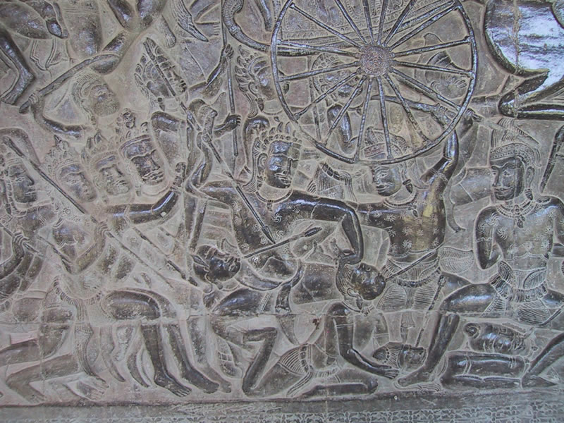 Battle, A Bas-Relief at Angkor Wat Temple