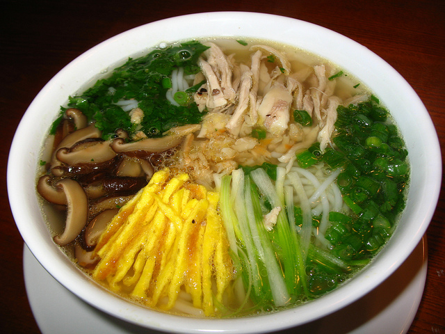 Bun thang-Noodle soup with thicken, fried egg, mushroom
