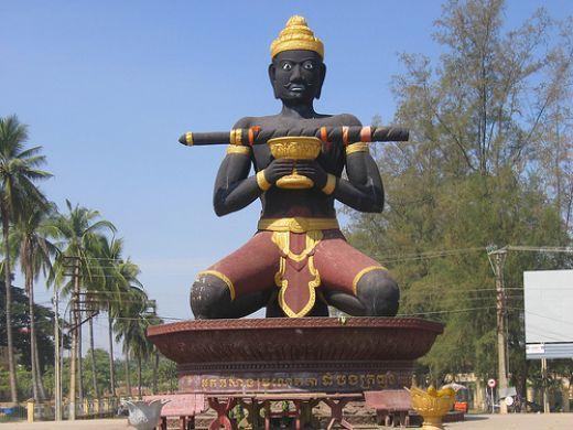 "The sacred statues of grandfather ""Dambong Kro Nhong"" in Battambang, Cambodia"