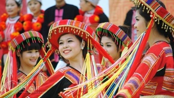 Dances of ethnic girls in Hanoi's Culoture-Tourism Village of Vietnamese ethnic groups.