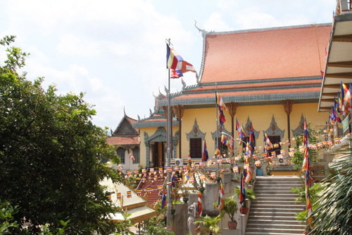 Pagodas are beautifully decorated in Chnam Chol Thmay new year festival of Cambodian.