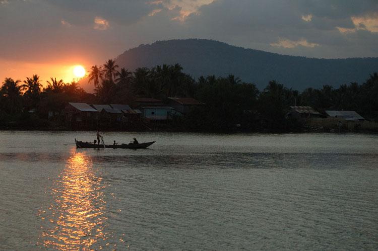 Evening scene, river at Kampot, Cambodia