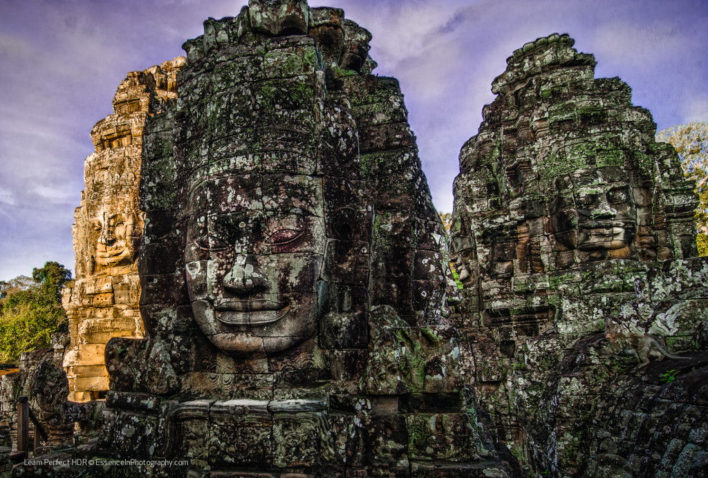 Rock Faces of Angkor Thom temple in Siem Reap