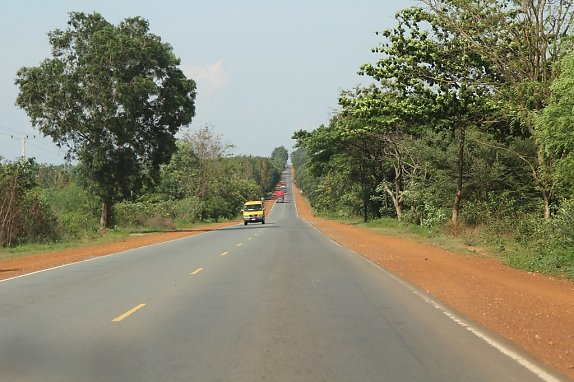 Highway between Sihanoukville and Phnom Penh, Cambodia