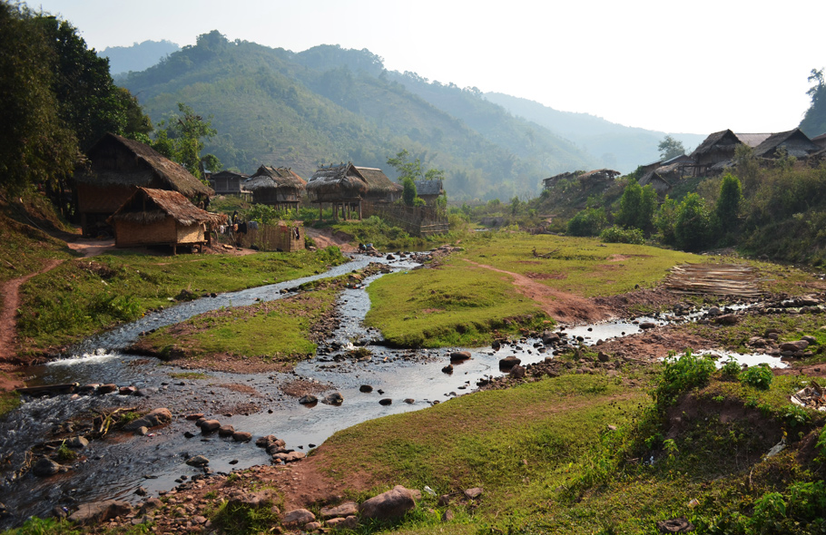 Hilltribe village in the Nam Ha National Protected Area