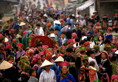 Large Crowd at Bac Ha Sunday market