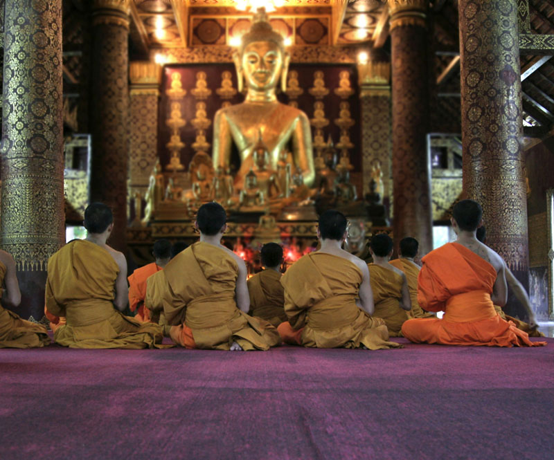 Monks at a temple in Laos