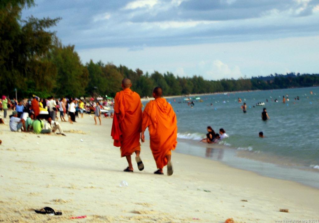 Monks on a beach Sihanoukville, Cambodia