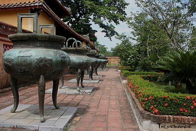Incense vessels at Royal Palace in Hue, Vietnam.