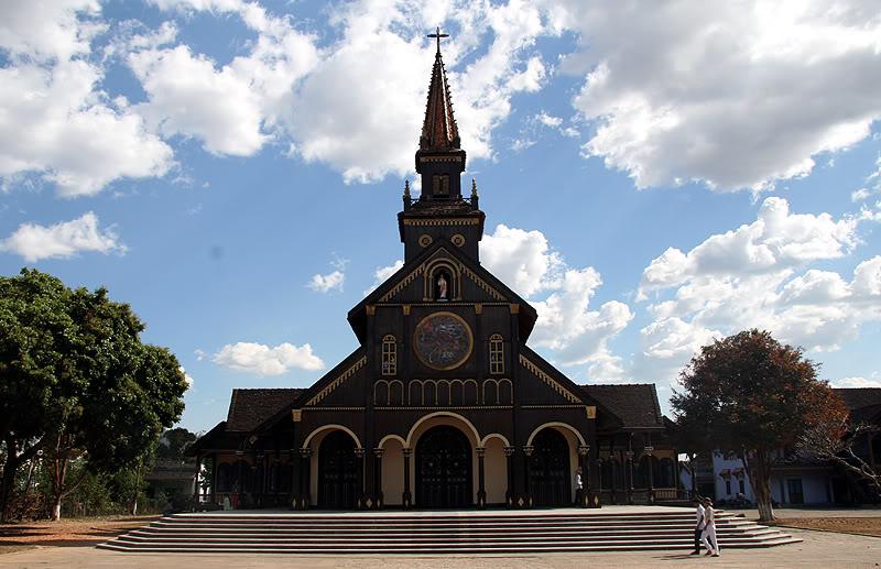 Old Wooden Church in Komtum province, Vietnam