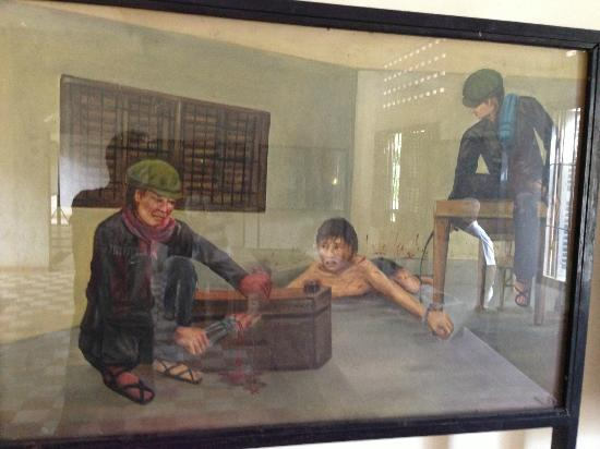 Painting of victim being torture in Tuol Sleng Genocide Museum, Phnom Penh