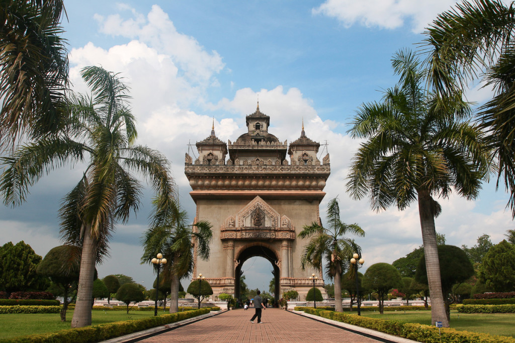 Patuxai Gate in Thannon Lanxing area of Vientiane, Laos
