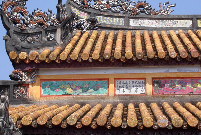 Roof tiles in Royal Palace, Hue, Vietnam.