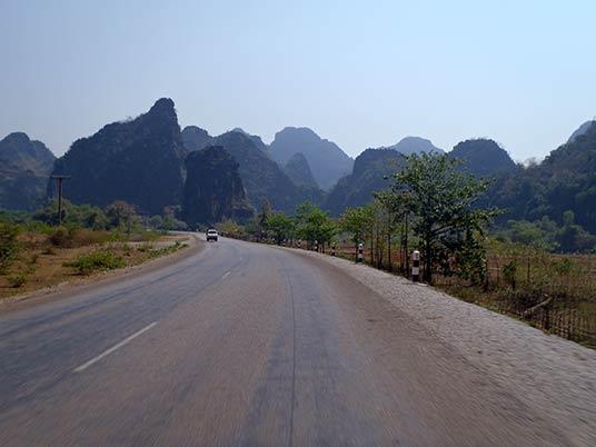 motor-cycle road in Route 12, Tha Khaek, Laos