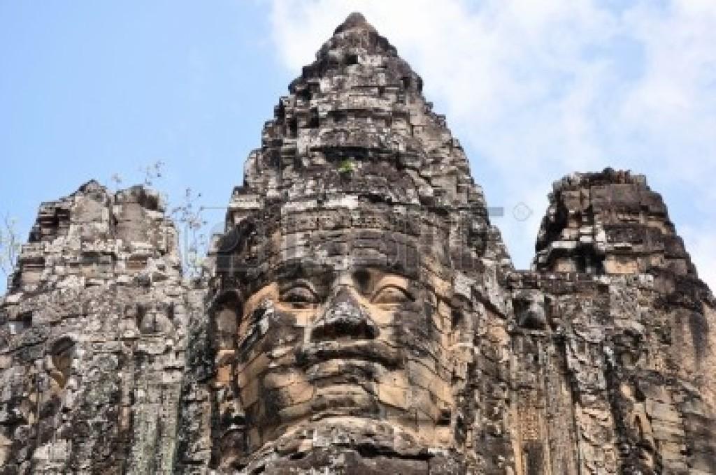 Ruins of giant smiling buddha statue at Angkor