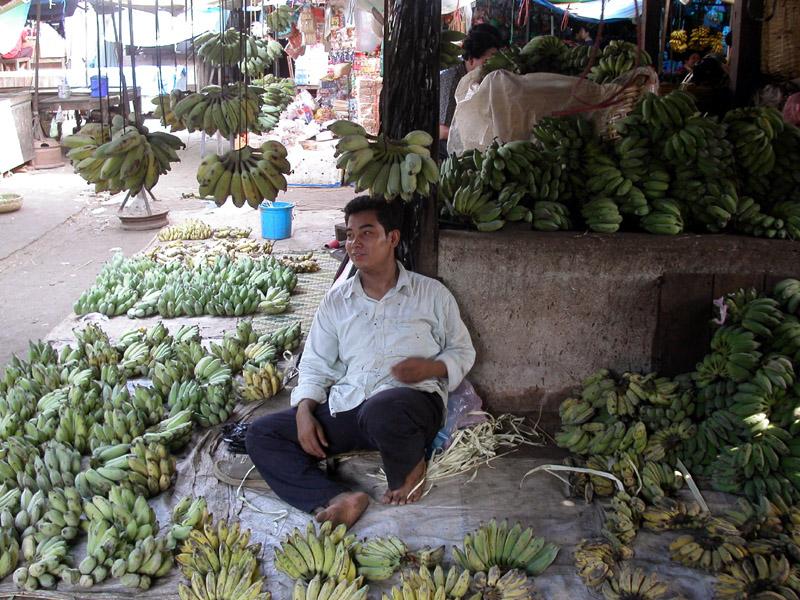 Selling bananas in Kampot market, Cambodia
