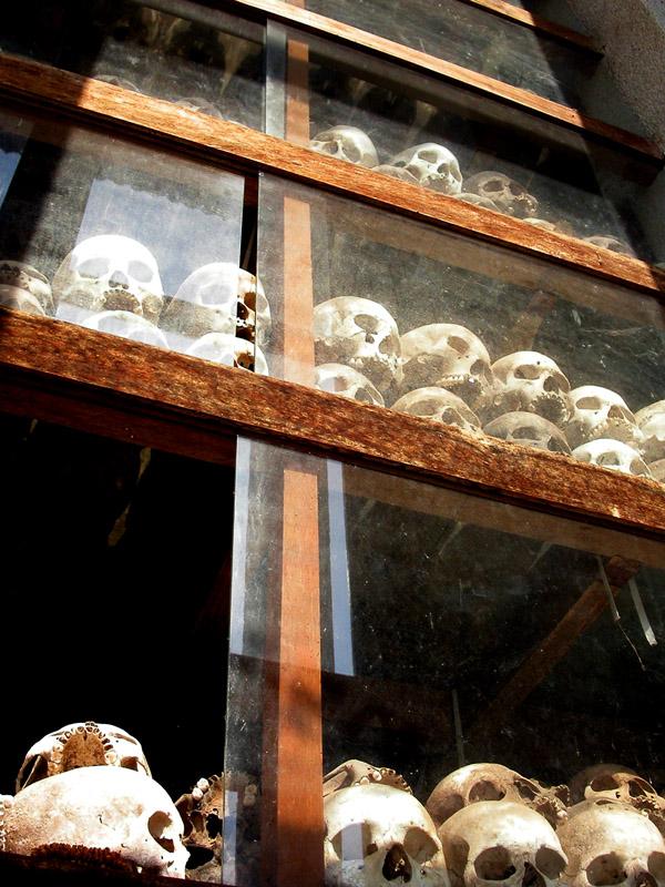 Skull tower memorial Killing Fields in Phnom Penh, Cambodia