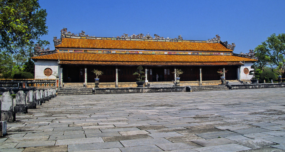 Temple hall, Royal Palace in Hue, Vietnam.