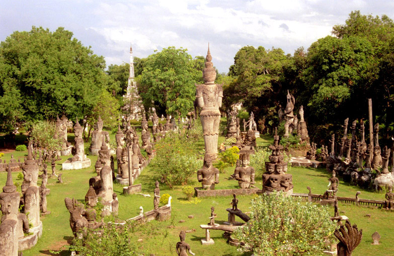 Many statues of Buddhas with posture in Buddha park, Laos