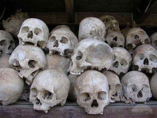 The skulls of Khmer Rouge victims on display at the Choeung Ek Genocidal Centre near Phnom Penh
