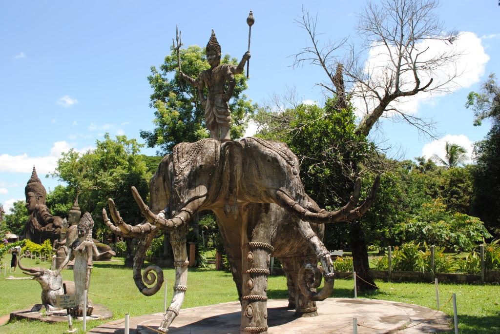 Three Headed Elephant Statue in Buddha park