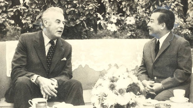 Sihanouk meets the Australian prime minister Gough Whitlam in Beijing as the Vietnam War neared its end in November 1973.