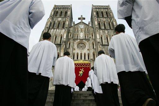 Vietnamese seminarian line up during ceremonies at the Catholic Church of Hanoi in Vietnam