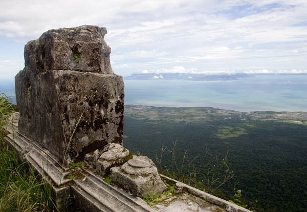 View of the coast near Kampot from Bokor mountain.