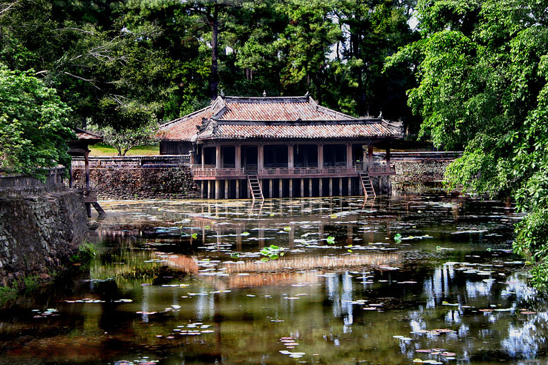 Xung Khiem pavilion Luu Khiem Lake Tu Duc Royal Tomb in Hue, Vietnam