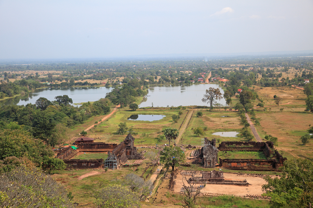 Wat Phou temple and landscape in Laos