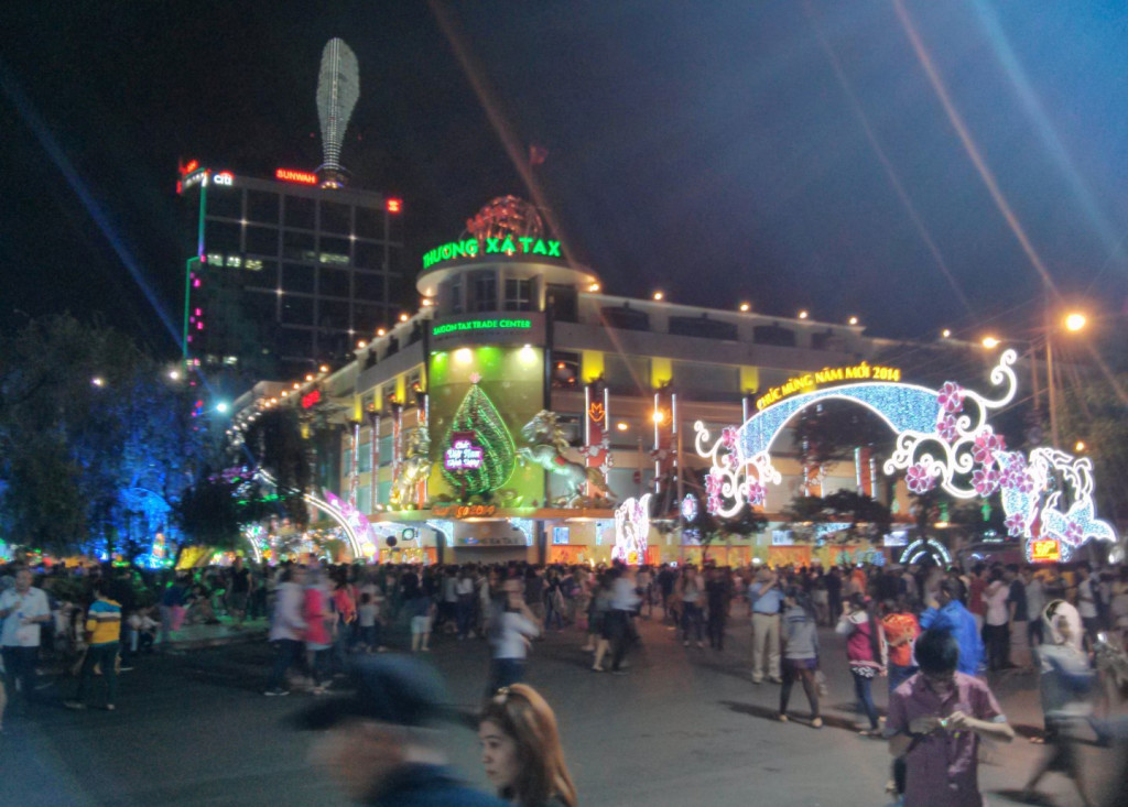 Crowd in Saigon in Tet holiday