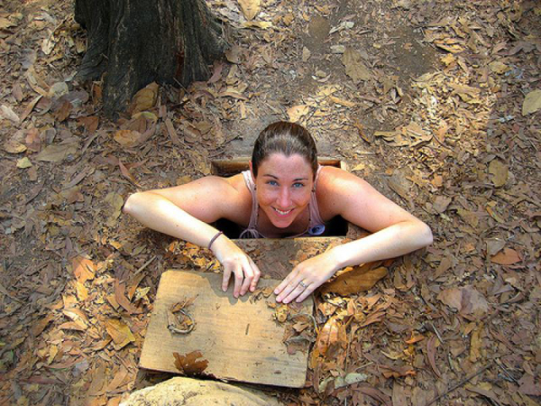An entrance of a branch of Cu Chi Tunnels.