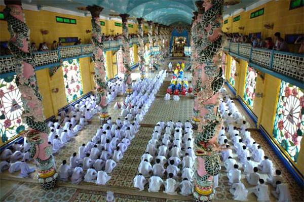 Inside Cao Dai Temple