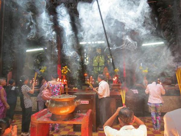 Thin smoke inside Emperor Jade Pagoda