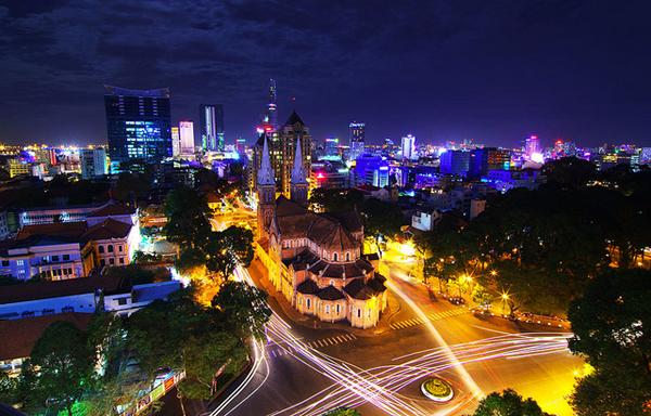 Panorama of Ho Chi Minh City at night