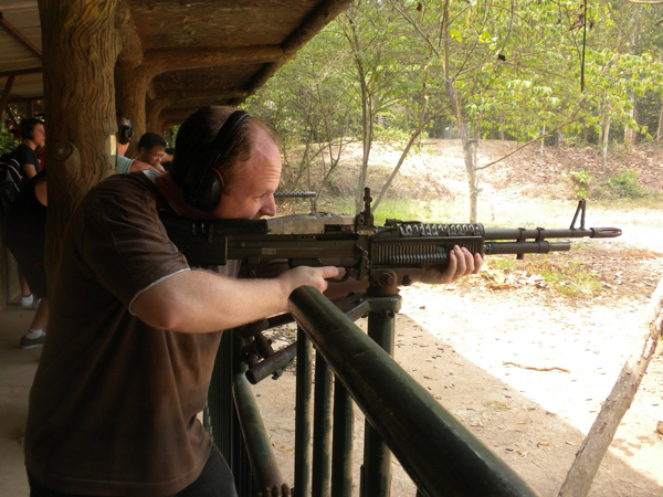 Shooting gun in Cu Chi Tunnels