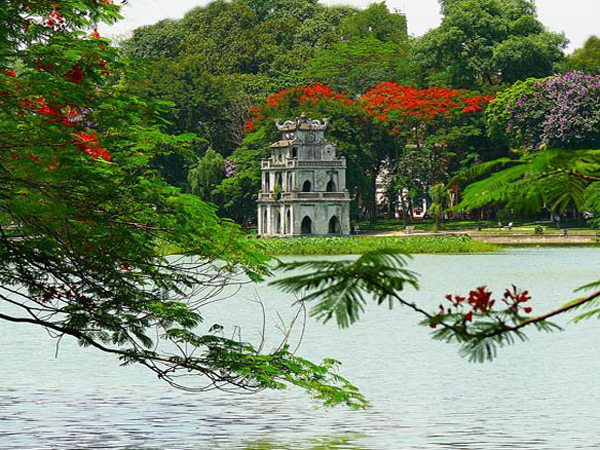 Turtle Tower in the middle of Hoan Kiem Lake