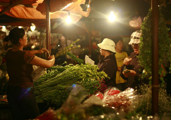 Many kinds of flowers in Quang Ba Flower Market